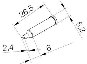 ERSADUR Soldering tip, lead-free, high performance, asymmetric, 2,4 mm, chisel shaped