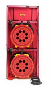 Pučiančios durys, 2 slėgio sudarymo ventiliatoriai modelis 5000 išsiurbiamo oro srautas iki 16462 m3/h su DM32 wifi mikromanometrais (2vnt.) dideliu durų rėmu