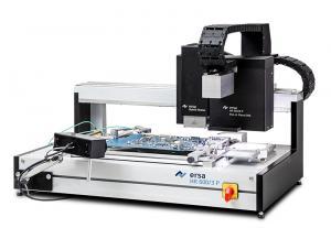 Automatinė precizinė (01005) hibridinė paviršinio montažo komponentų (iš)litavimo sistema HR 600/2 su komponentų nuėmimo, pozicionavimo ir pastatymo funkcijomis bei didesniu 535 x 300 (+x) mm plokštės rėmeliu