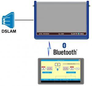 Etaloninis xDSL (ADSL, VDSL) testavimo modemas su Android programėle modemo valdymui per Bluethooth sąsają