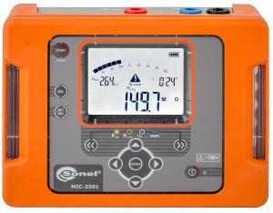 Izoliacijos varžos iki 1TΩ prie 2,5kV (100...2500V, po 100V) įtampos ir pereinamųjų kontaktų varžos matuoklis MIC-2501