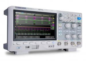 100 MHz;4 channels; 1 GSa/s; 14 M memory depth; 100,000 wfm/s waveform capture rate; 7'' display (800*480 pixels); SPO technology,128 kpts FFT,Serial bus triggering and decode (Standard), supports IIC, SPI, UART, RS232, CAN, and LIN