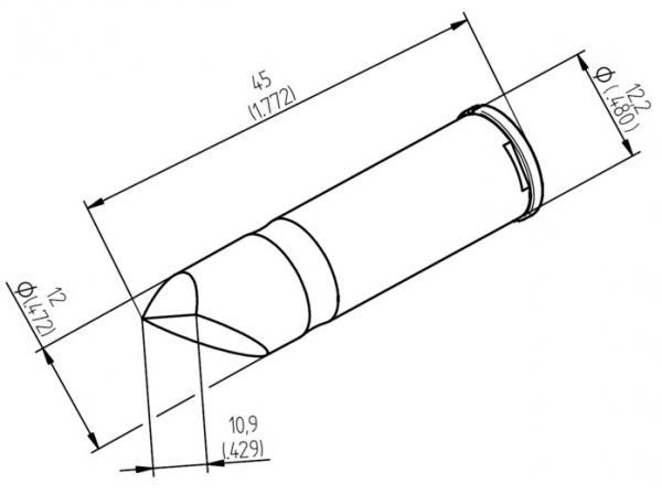 ERSADUR Soldering tip, lead-free, high performance, asymmetric, 10.9 mm, chisel shaped, high performance