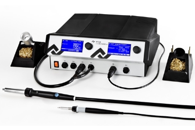 i-CON VARIO 4, 4-channel (de)soldering station with interface, i-Tool AIR S hot air soldering iron and i-Tool soldering iron