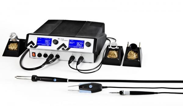 500W Antistatinė keturkanalė (iš)litavimo stotis i-CON VARIO 4 su  valdymo sąsaja, karšto oro lituokliu i-Tool AIR S, (iš)litavimo pincetu Chip Tool VARIO ir 150W lituokliu i-Tool