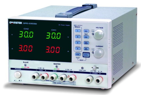 Trijų kanalų 195W programuojamas linijinis DC maitinimo šaltinis 30V, 3A x 2; 2,5/3,3/5V, 3A su USB sąsaja