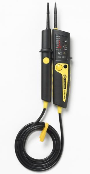 Dvipolis elektros testeris su fazių sekos nustatymu ir LED indikacija