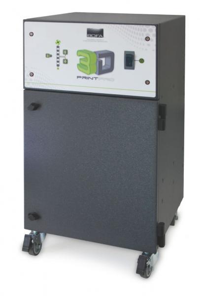 165m³/h 3D spausdinimo garų bei dūmų ištraukimo ir filtravimo sistema 3D PrintPRO 4 su 24V stop/start, signalizavimo apie užsikišusį filtrą ir override moduliu skirta ant stalo statomiems 3D spausdintuvams uždaru arba pusiau uždaru korpusu