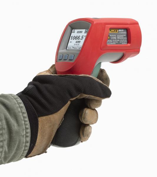 -40...800ºC IR spindulių ir kontaktinis termometras su 50:1 optine skyra ir K tipo termopora, pritaikytas darbui sprogioje aplinkoje
