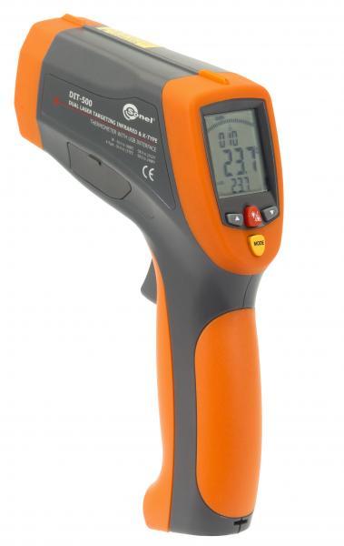 -50...1600°C IR spindulių ir kontaktinis termometras DIT-500 su 50:1 optine skyra, K tipo termopora, duomenų registravimu ir jungimu su PC