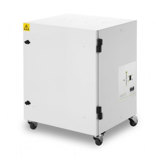 285m³/h ištraukimo ir filtravimo sistema DentalPRO Universal skirta veiksmingai pašalinti susidariusias potencialiai kenksmingas dulkes ir dūmus naudojant CAD/CAM dantų frezavimo stakles, su 24V stop/start, signalizavimo apie užsikišusį filtrą ir override