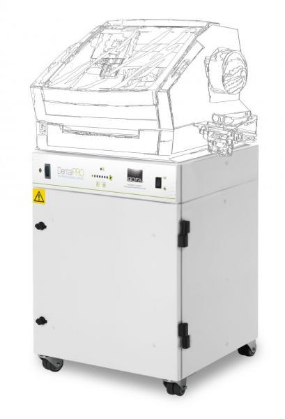 285m³/h ištraukimo ir filtravimo sistema DentalPRO Base skirta veiksmingai pašalinti susidariusias potencialiai kenksmingas dulkes ir dūmus naudojant CAD/CAM dantų frezavimo stakles, su vidiniu kompresoriumi