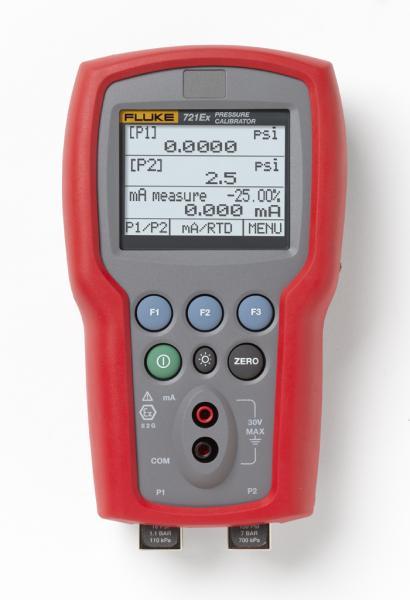 Slėgio nuo -0.97 iki 2.48 bar ir nuo 0 iki 200 bar matuoklių kalibratorius su dviem jutikliais, pritaikytas darbui sprogioje aplinkoje