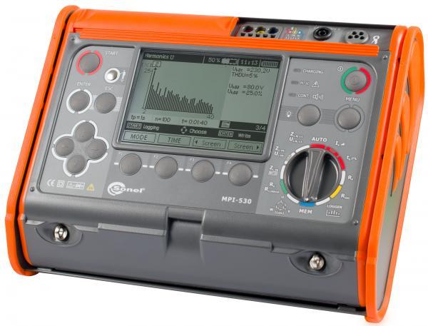 Universalus elektros instaliacijos (grandinės fazė-nulis, apsauginio laidininko, izoliacijos, įžeminimo ir RCD/LSĮ) tikrinimo prietaisas MPI-530 su suvartojamos galios ir elektros kokybės analizės funkcija