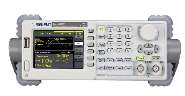 2-jų kanalų 10MHz, 125MSa/s, 16ktšk., 14bit, išėjimo amplitudė 4mV ~ 20Vpp (prie aukšto impedanso) laisvos formos ir funkcinių signalų generatorius su AM, DSB-AM, FM, PM, ASK, FSK, PWM, Sweep, Burst moduliacijomis ir dažnomačio funkcija