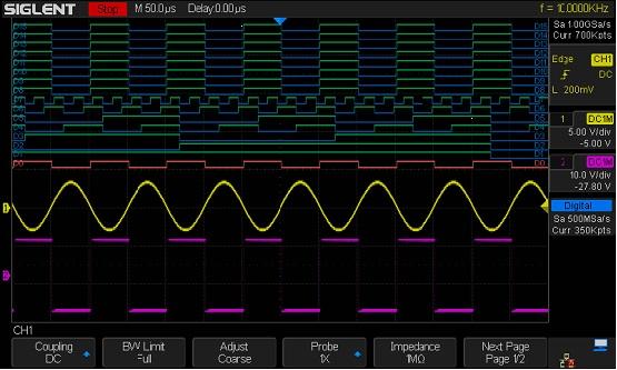 MSO programinė įranga, 16-kanalų, 500MSa/s, 14Mtšk. atmintis, loginiai zondai neįeina, SDS1000X+ osciloskopams