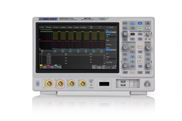 """200MHz, 4-ių kanalų skaitmeninis osciloskopas, 2GS/s, atmintis 200Mtšk., signalo atvaizdavimo ekrane dažnis 120,000kart./s, liečiamas ekranas 10.1""""(1024x600), SPO technologija (Funkcinio generatoriaus, 16 kanalų loginio analizatoriaus parinktys)"""