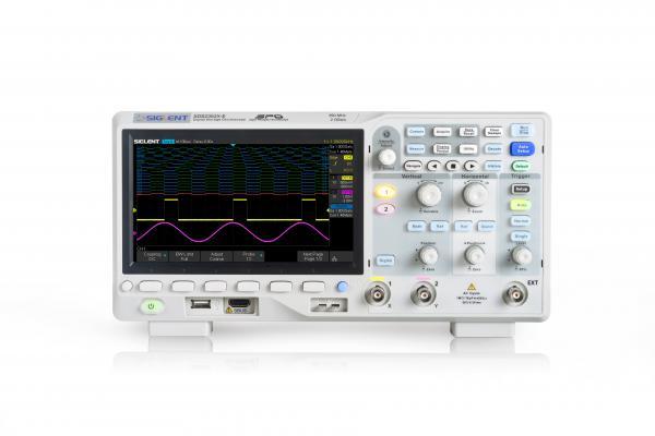 """350MHz, 2-jų kanalų skaitmeninis osciloskopas, 2GS/s, atmintis 28Mtšk., signalo atvaizdavimo ekrane dažnis 400,000kart./s, ekranas 7""""(800x480), SPO technologija, 1 Mtšk. FFT, IIC, SPI, UART, RS232, CAN, LIN"""