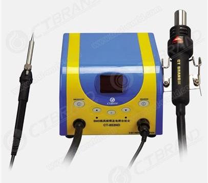 Dvikanalė SMD litavimo - išlitavimo stotis su litavimo karštu oru įrankiu ir kontaktiniu lituokliu