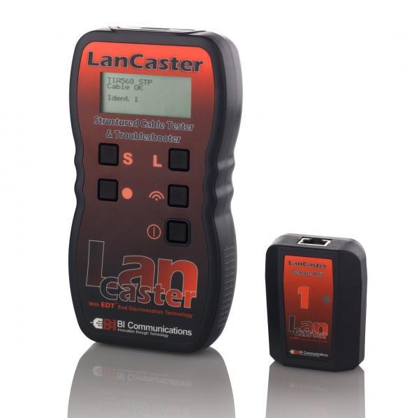 LAN kabelio testeris ir ilgio matuoklis su defektuoto galo nustatymo funkcija ir tono generatorium