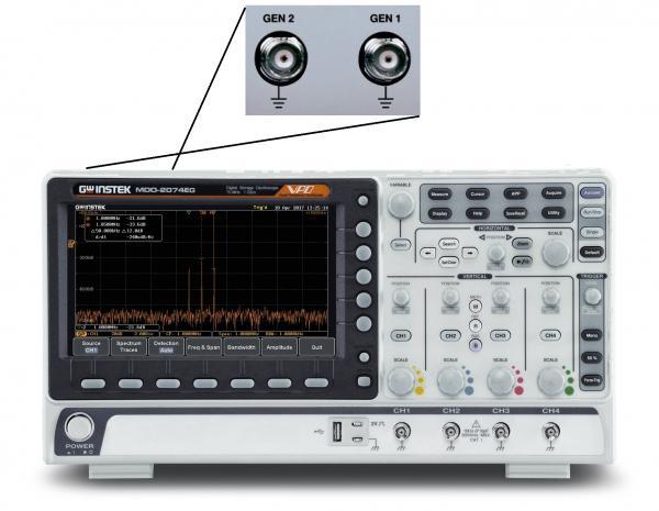 70MHz, 4-ių kanalų, 1GS/s skaitmeninis osciloskopas, 500MHz RD spektro analizatorius ir 2-jų kanalų, 25MHz laisvos formos signalų generatorius