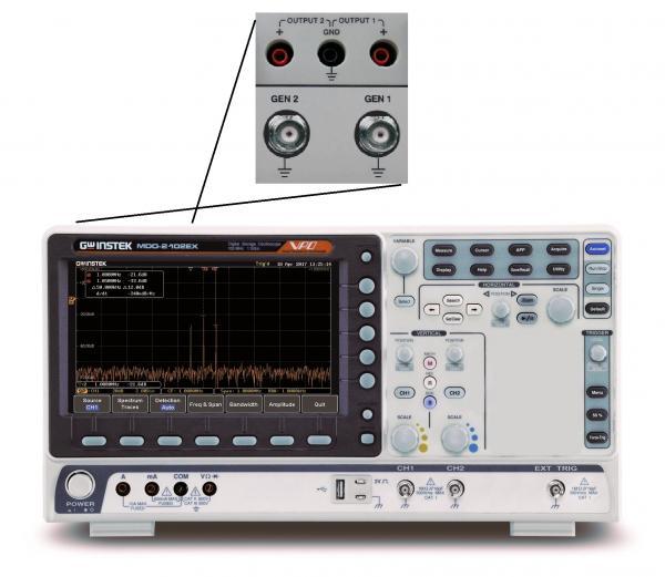 100MHz, 2-jų kanalų, 1GS/s skaitmeninis osciloskopas, 500MHz RD spektro analizatorius, 2-jų kanalų, 25MHz laisvos formos signalų generatorius, 3,75 skaitmens multimetras ir 2-jų kanalų maitinimo šaltinis