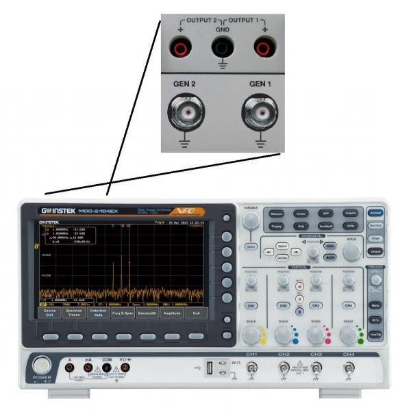 100MHz, 4-ių kanalų skaitmeninis osciloskopas, 500MHz RD spektro analizatorius, 2-jų kanalų, 25MHz laisvos formos signalų generatorius, 3,75 skaitmens multimetras ir 2-jų kanalų maitinimo šaltinis