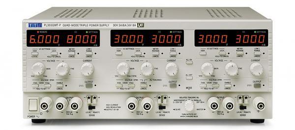 Trijų kanalų 228W dviejų rėžių, keturių režimų linijinis DC maitinimo šaltinis 30V, 3A ir 30V, 0,5A X 2; 6V, 8A su USB/RS232/LAN(LXI)/GPIB) sąsajomis
