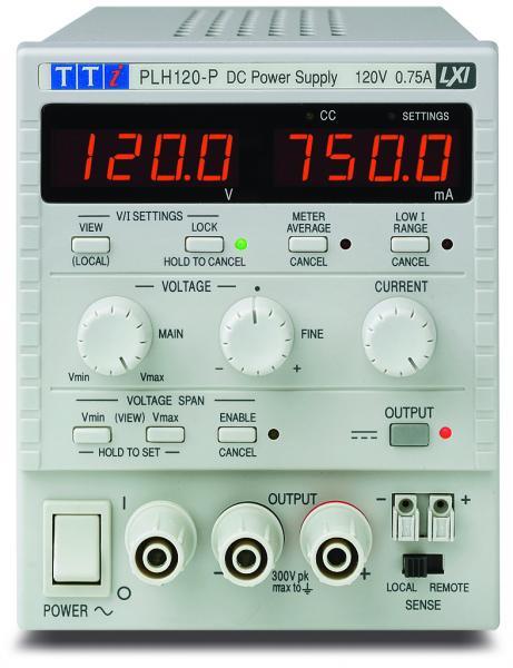 90W Vieno kanalo linijinis DC maitinimo šaltinis 120V, 0,75A su izoliuotomis USB, RS-232, LAN ir analoginio valdymo sąsajomis