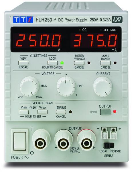 94W Vieno kanalo linijinis DC maitinimo šaltinis 250V, 0,375A su izoliuotomis USB, RS-232, LAN ir analoginio valdymo sąsajomis
