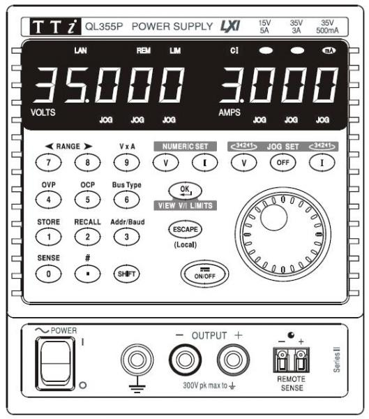 105W Vieno kanalo, trijų rėžių linijinis DC maitinimo šaltinis 35V, 0,5A; 35V, 3A ir 15V, 5A su LXI/USB/RS232/GPIB sąsajomis
