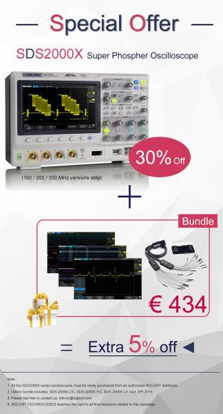 300MHz; 4-ių kanalų skaitmeninis osciloskopas, 2GS/s, atmintis 140Mtšk. + SDS2000X rinkinys