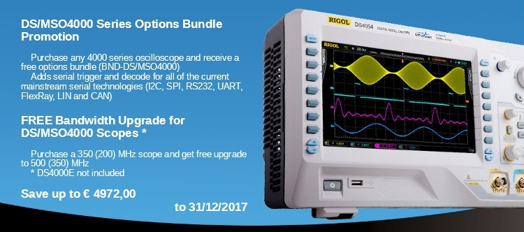 Slide baneris RIGOL MSO-DS4000 free BW update and protocol decoder